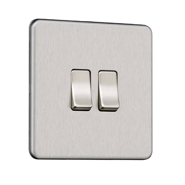 Flat Plate Screwless 2G Light Switch