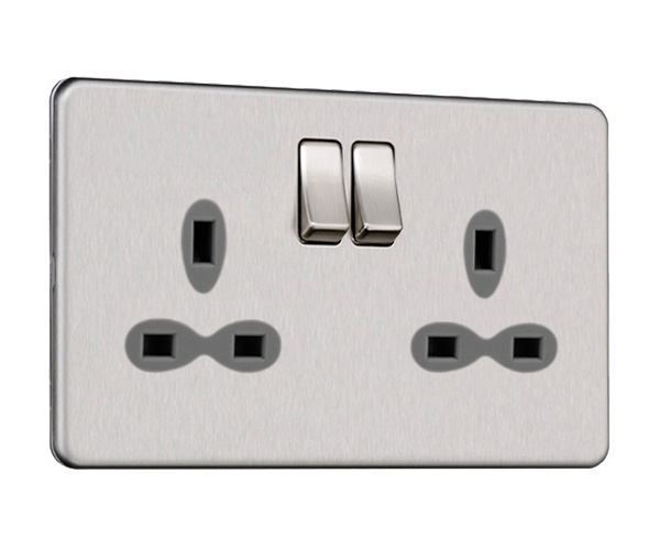 Slimline Screwless 2G DP Switched Double Socket