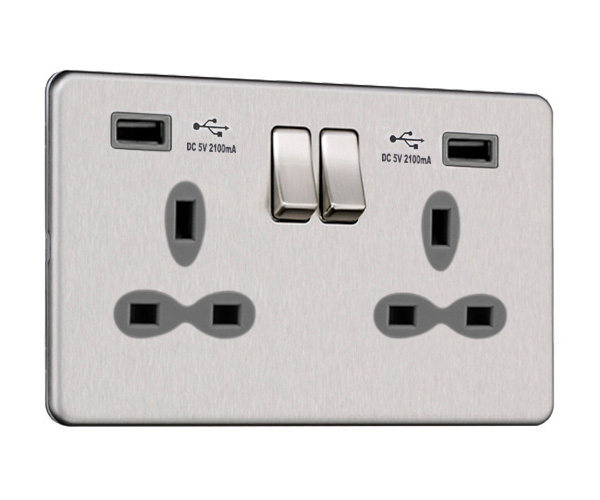 Slimline Screwless 2G Socket with Dual USB Charger (2.1A)