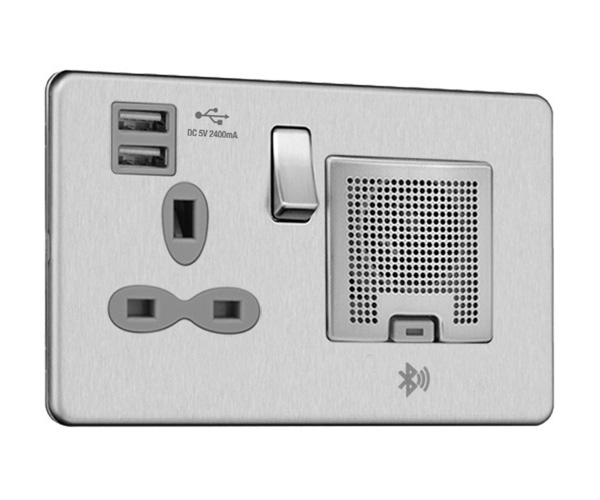 Slimline Screwless 2 gang 13A switched socket with USB (2.4A) and Bluetooth audio (TWS Function)