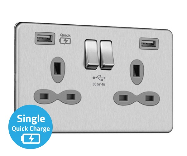 Slimline Screwless 2G Socket with Dual USB Charger (4A – Type A + Type A Quick charge)