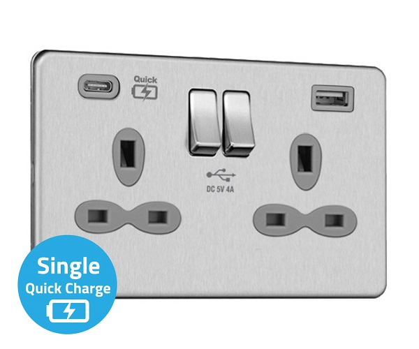 Slimline Screwless 2G Socket with Dual USB Charger (4A – Type A + Type C Quick charge)