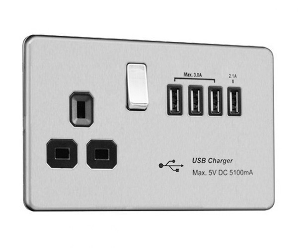 Flat Plate Screwless 13 AMP Socket Outlet with Quad USB Charger (5.1A)