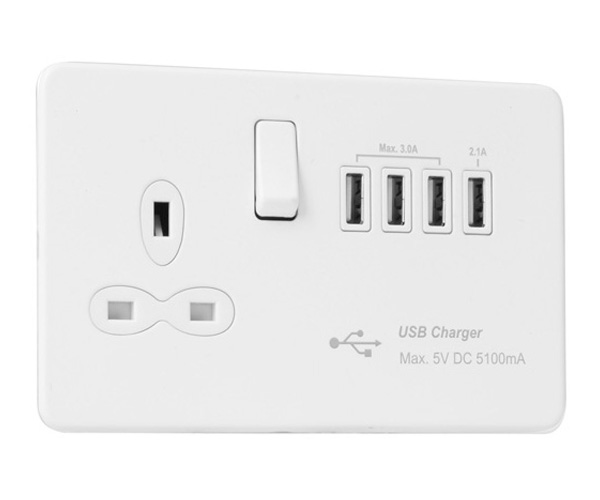 Slimline Screwless 13 AMP Socket Outlet with Quad USB Charger (5.1A)