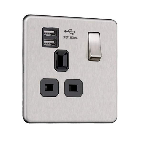 Flat Plate Screwless 1G Socket with Dual USB Charger (2.4A)
