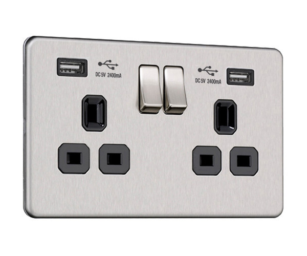 Flat Plate Screwless 2G Socket with Dual USB Charger (2.4A)