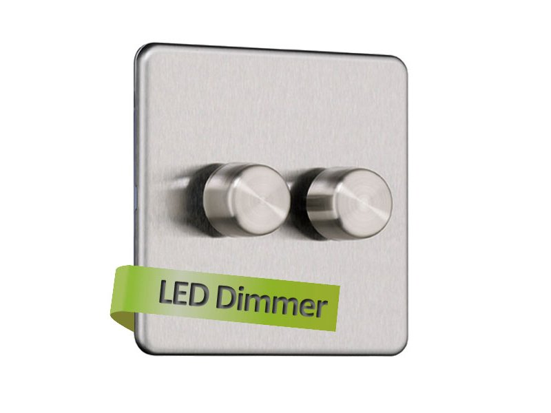 Flat Plate Screwless 2G 2 way 250W Universal LED Dimmer Switch (Leading Edge)