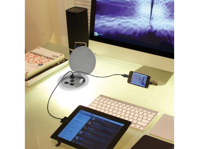 USB Power Station (Recessed Mount) – with 1 socket and 2 USB charger