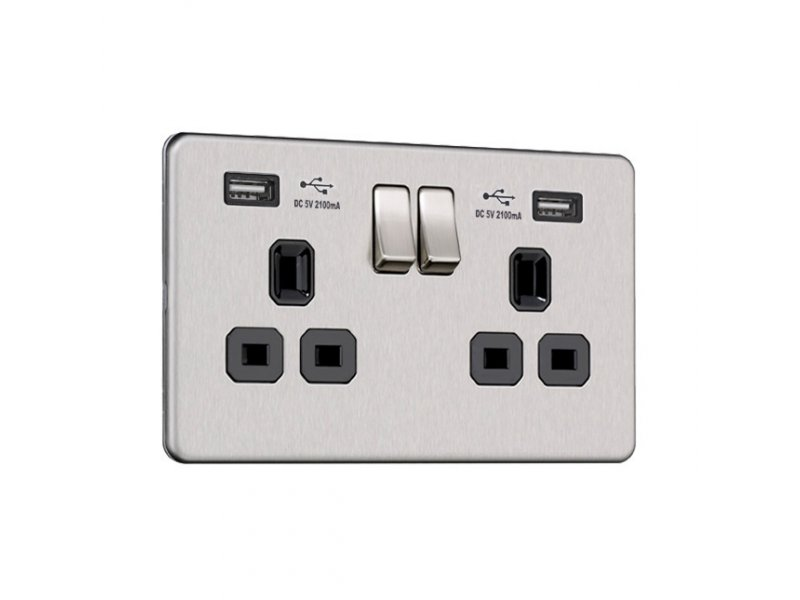 Flat Plate Screwless 2G Socket with Dual USB Charger (2.1A)