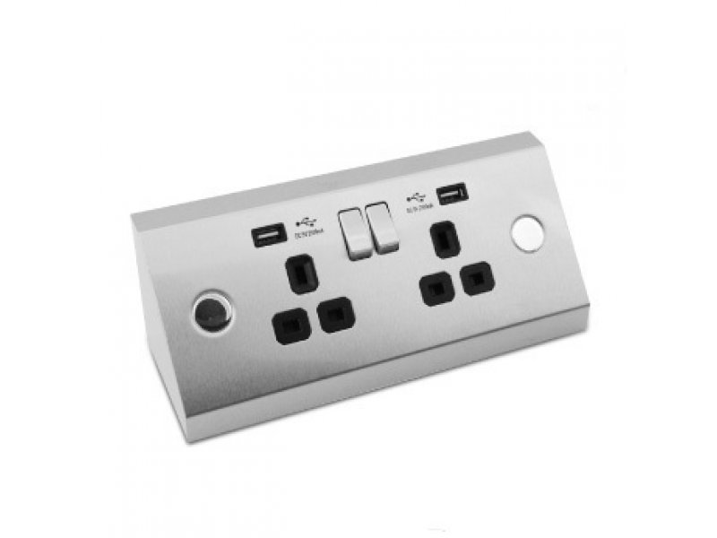 USB Power Station (Surface Mount)  – with 2 socket and 2 USB charger