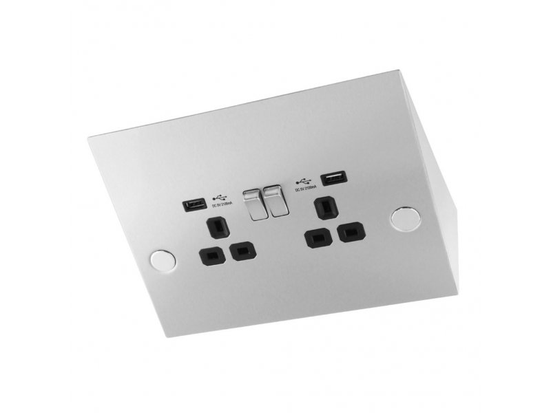 USB Power Station (Under Cabinet)  – with 2 socket and 2 USB charger