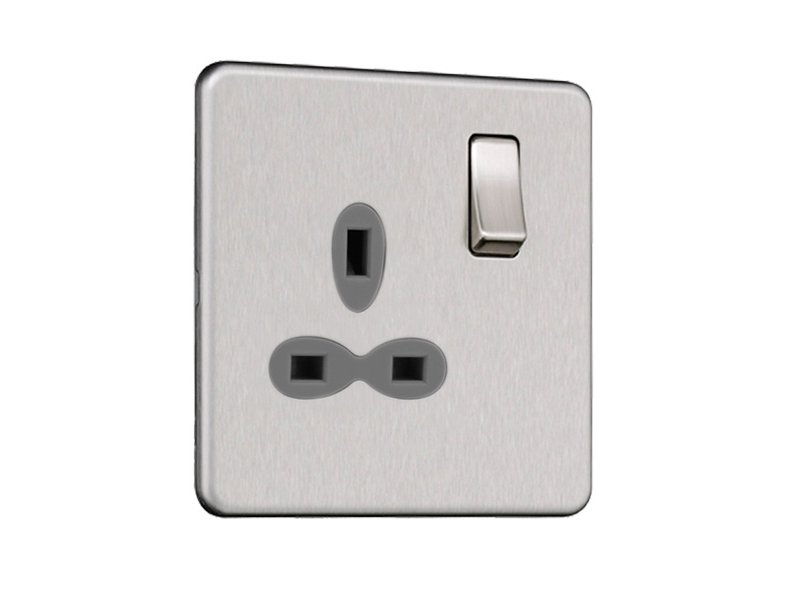Slimline Screwless 1G DP Switched Single Socket