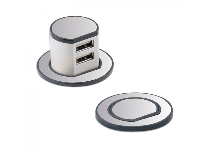 Flat Plate Screwless 1G Socket with Dual USB Charger (2.1A)