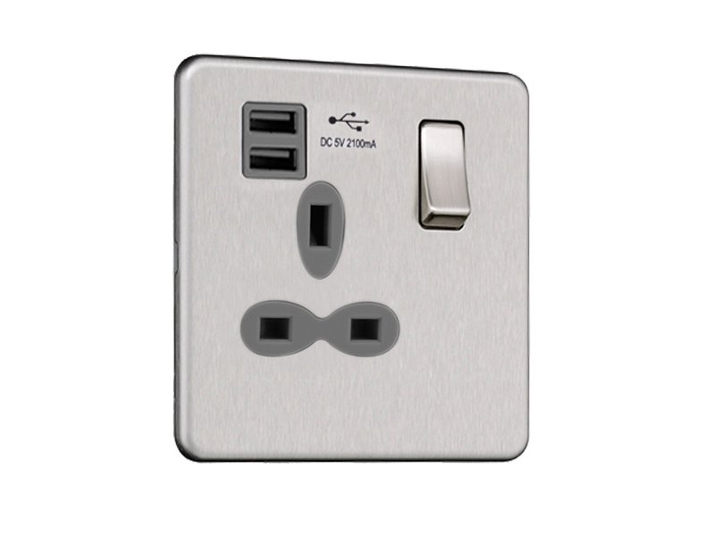 Slimline Screwless 1G Socket with Dual USB Charger (2.1A)