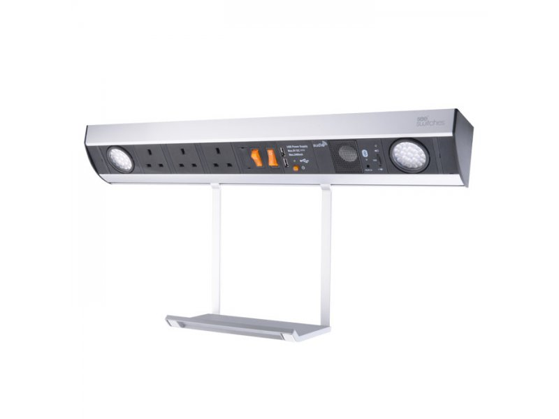 Power station with hanging tray – 3 x BS socket , 2 x USB charger, Bluetooth Audio, 2 x LED light