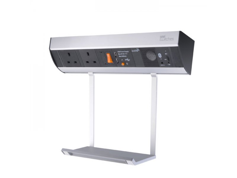 Power station with hanging tray – 2 x BS socket , 2 x USB charger, Bluetooth Audio