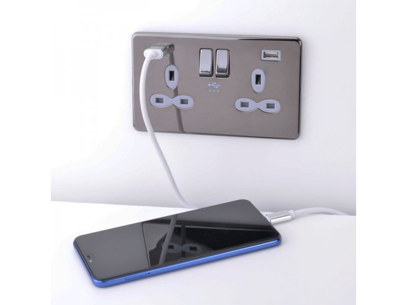 Slimline Screwless 2G Socket with Dual USB Charger (4A)