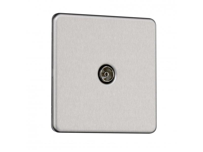 Flat Plate Screwless 1G Single TV Aerial Socket