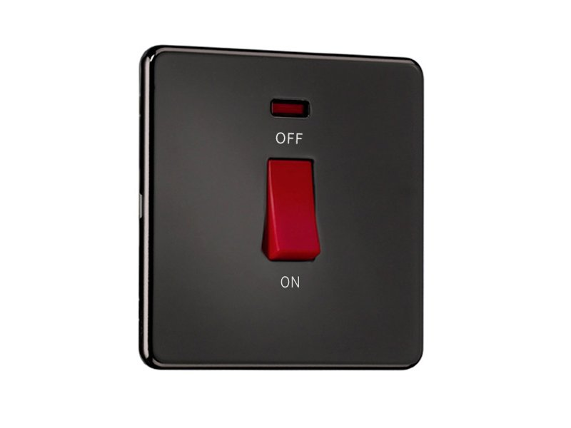 Flat Plate Screwless 45A D.P. Switch with Neon – Single Plate