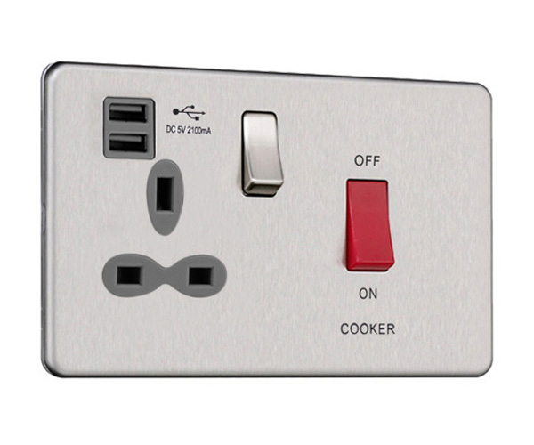 Slimline Screwless 45 AMP Cooker Switch Socket Outlet with Dual USB Charger (2.1A)