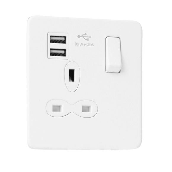 Slimline Screwless 1G Socket with Dual USB Charger (2.4A)