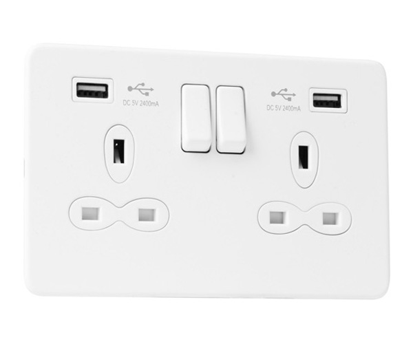 Slimline Screwless 2G Socket with Dual USB Charger (2.4A)