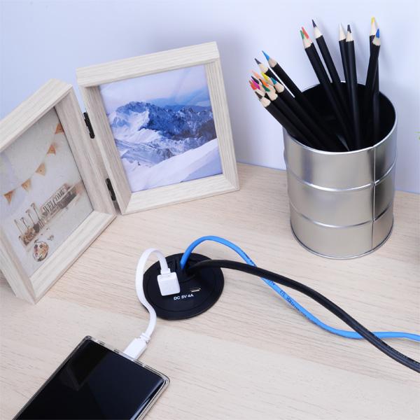 Desktop Grommet with Dual USB Charger