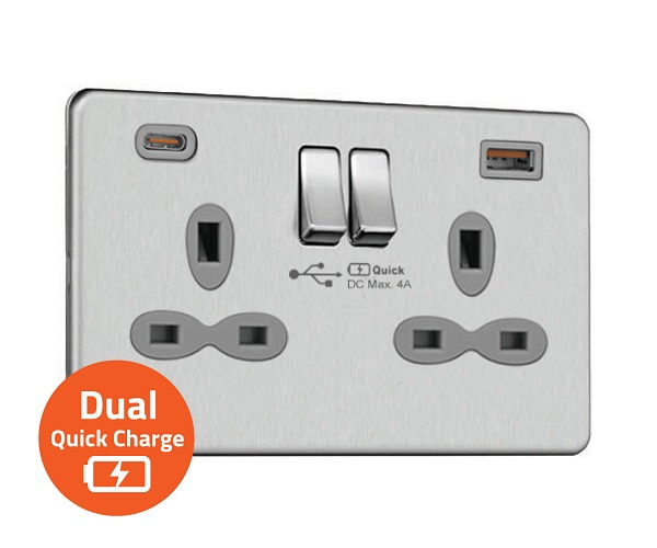 Slimline Screwless 2G Socket with Dual USB Quick Charger (4A – Type A + Type C)