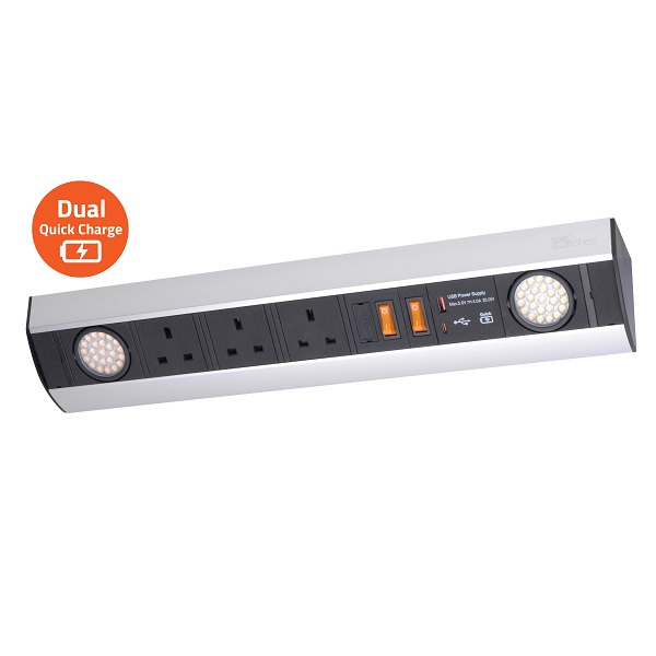 Power Station (Under Cabinet) – with 2 LED spot light, 3 Sockets & Dual USB Quick charger