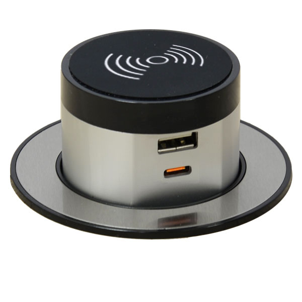 Wireless Pop Up Charger with USB-A and USB-C Outlets (Single USB-C Quick Charger)
