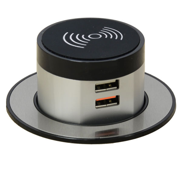 Wireless Pop Up Charger with 2 x USB-A Outlets (Single USB-A Quick Charger)