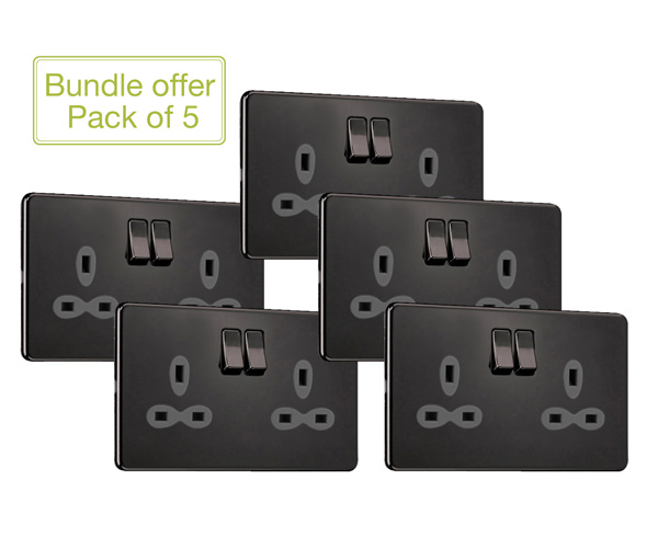Slimline Screwless 2G DP Switched Double Socket (Pack of 5)