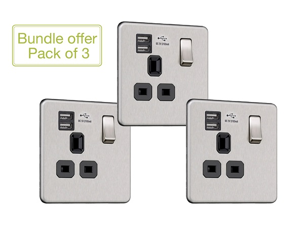Flat Plate Screwless 1G Socket with Dual USB Charger (2.1A) (Pack of 3)