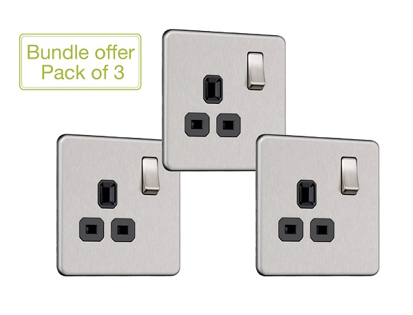 Flat Plate Screwless 1G DP Switched Single Socket (Pack of 3)