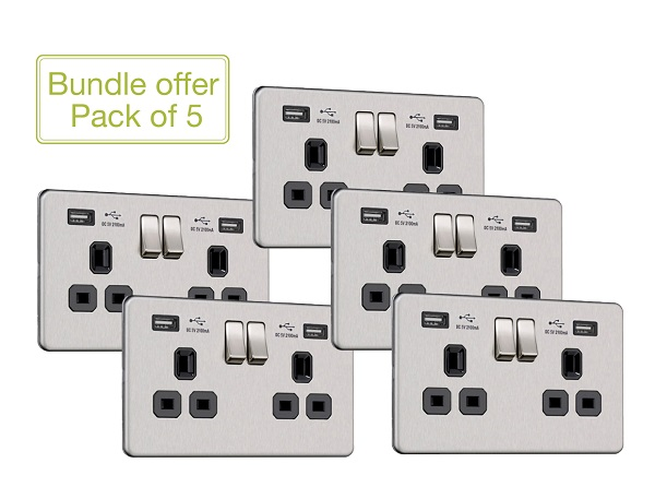 Flat Plate Screwless 2G Socket with Dual USB Charger (2.1A) (Pack of 5)