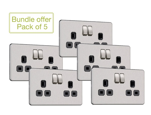 Flat Plate Screwless 2G DP Switched Double Socket (Pack of 5)