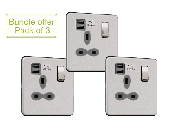 Slimline Screwless 1G Socket with Dual USB Charger (2.1A) (Pack of 3)