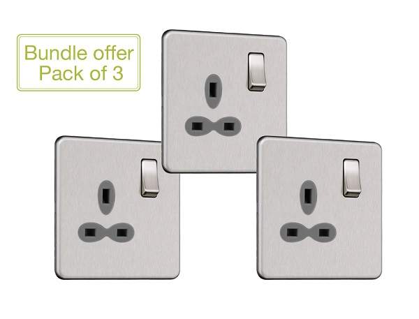 Slimline Screwless 1G DP Switched Single Socket (Pack of 3)