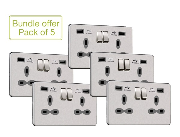Slimline Screwless 2G Socket with Dual USB Charger (2.1A) (Pack of 5)